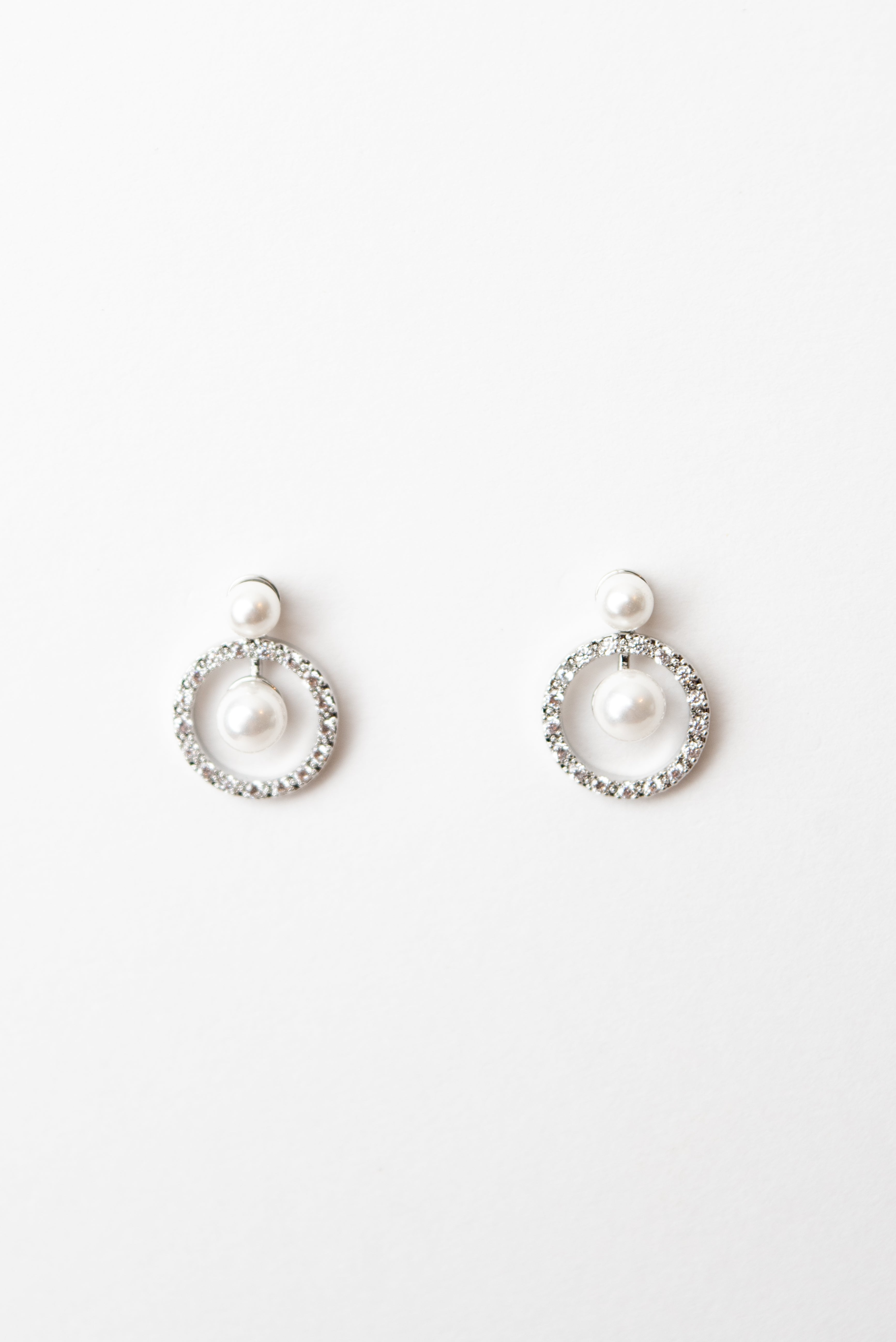 Beck & Boosh Cherish Studs Pearl Stud Earrings with Circle of Rhinestones that Hang Beneath and another Pearl in Middle of Rhinestone Circle
