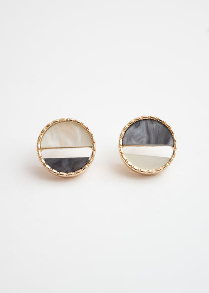 Beck & Boosh Colorful Port Studs Two Toned  Gray Half Circles Encased in Gold Circle Frame