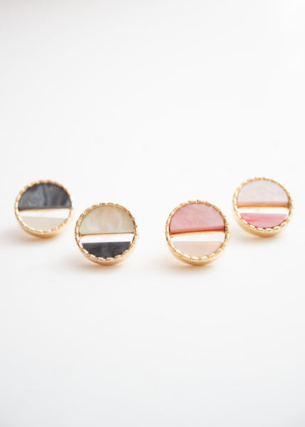 Beck & Boosh Colorful Port Studs Two Toned Pink and Gray Half Circles Encased in Gold Circle Frame