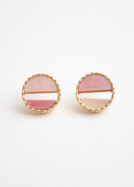 Beck & Boosh Colorful Port Studs Two Toned Pink Half Circles Encased in Gold Circle Frame