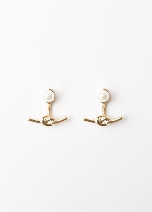 Beck & Boosh Deep Sea Ear Jackets Pearl Stud with Hanging Sailor Knot Back Plated  Gold