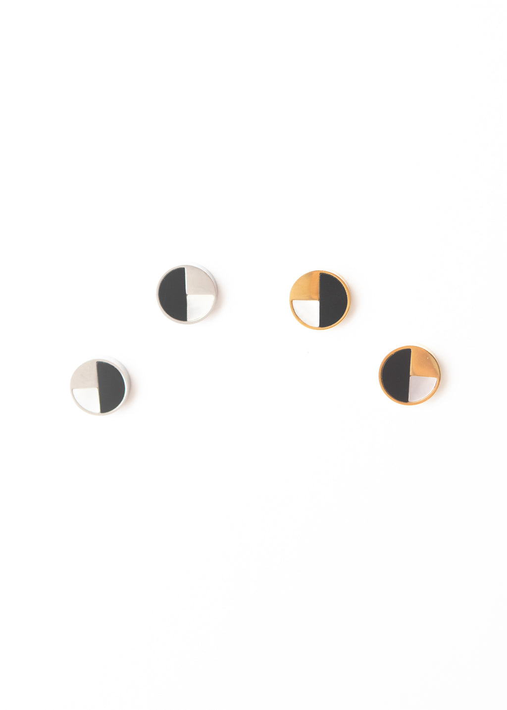Beck & Boosh Division Studs Circle Studs with One Side Black and One Side Split with Upper Side Plated Gold or Silver and Bottom Side an Opalite Insert Plated Gold and Silver Stainless Steel
