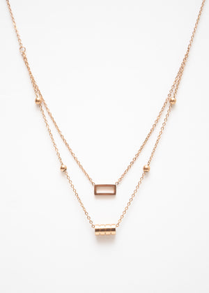 Beck & Boosh Double Fancy Necklace Two Chain One with Open Rectangle One with Four Circles In Rose Gold Stainless Steel