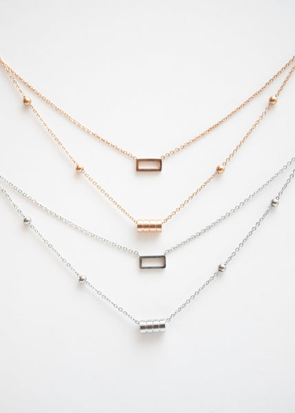 Beck & Boosh Double Fancy Necklace Two Chain One with Open Rectangle One with Four Circles In Rose Gold and Silver Stainless Steel