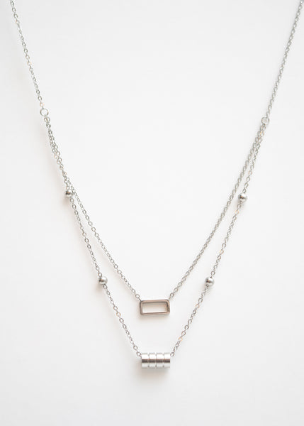Beck & Boosh Double Fancy Necklace Two Chain One with Open Rectangle One with Four Circles In Silver Stainless Steel