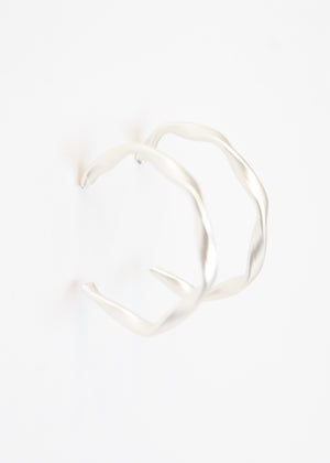 Beck & Boosh Drizzle Hoops Ribbon Twist Hoops on Matte Plated silver