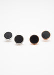 Beck & Boosh Dynamic Turn Studs Gloss Black Circle Wrapped In Rose Gold or Silver Circle Frame