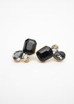 Beck & Boosh Ebony Drop Studs Three Cut Black Ombre Stones