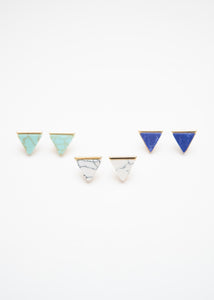 Beck & Boosh Egypt In Marble Triangle Studs with Gold Base and Either Green, Blue, or White Marble Center
