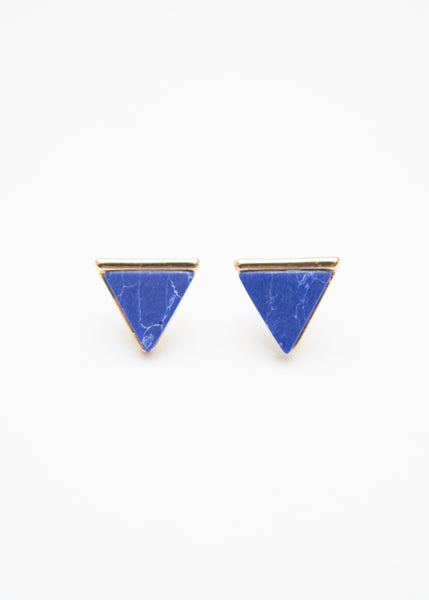 Beck & Boosh Egypt In Marble Triangle Studs with Gold Base Blue Marble Center