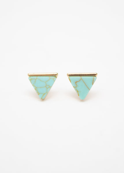 Beck & Boosh Egypt In Marble Triangle Studs with Gold Base Green Marble Center