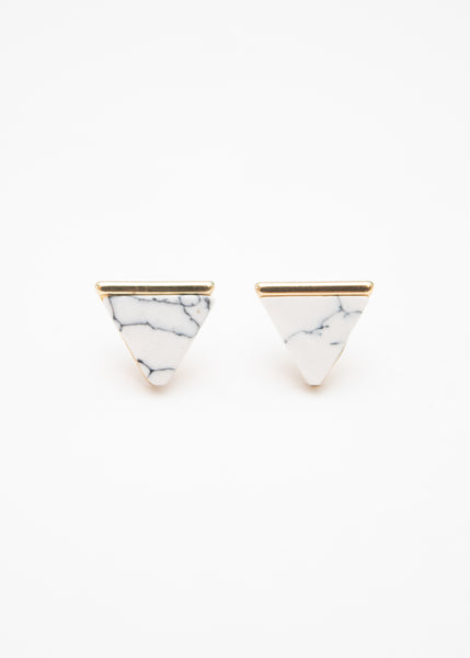 Beck & Boosh Egypt In Marble Triangle Studs with Gold Base White Marble Center