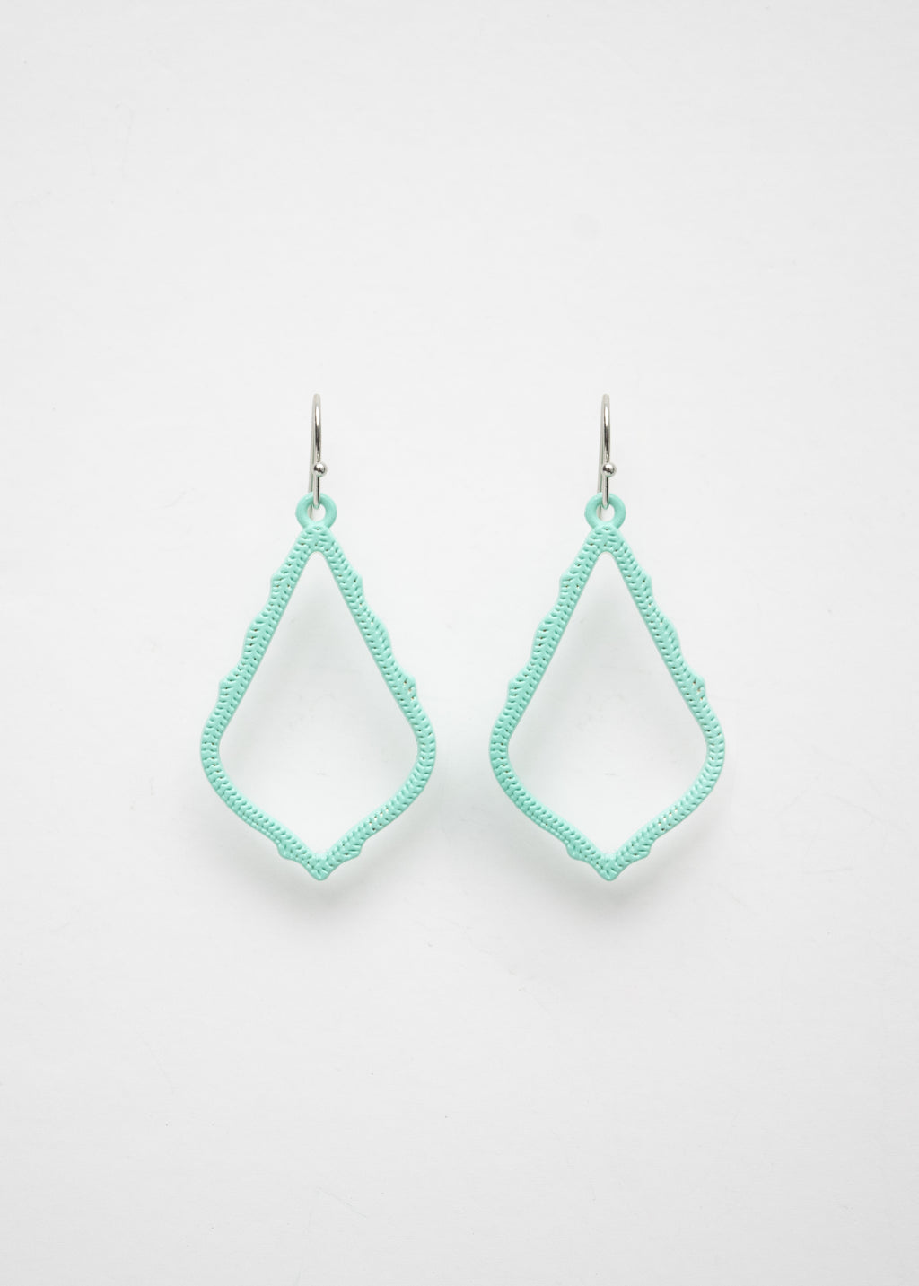 Beck & Boosh Teardrop Lace Earrings Sea foam colored teardrop shape dangle earrings with scalloped edges and open center