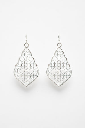 Beck & Boosh Filigree Earrings Scalloped edge with teardrop filigree design plated silver