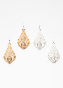 Beck & Boosh Filigree Earrings Scalloped edge with teardrop filigree design plated silver and rose gold