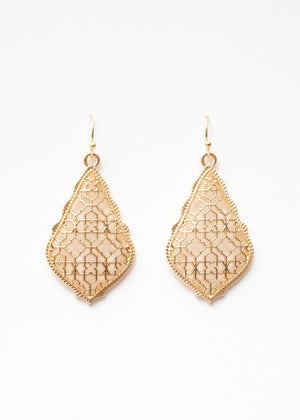 Beck & Boosh Filigree Earrings Scalloped edge with teardrop filigree design plated rose gold