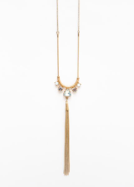MODERN VINTAGE <DEBBIE REYNOLDS> TASSEL & GEM NECKLACE