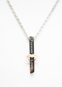 "Beck & Boosh Forever Love Necklace Rose Gold Heart with Rhinestone Encompassing Vertical Stainless Steel Bar with ""Forever Love"" Engraved"