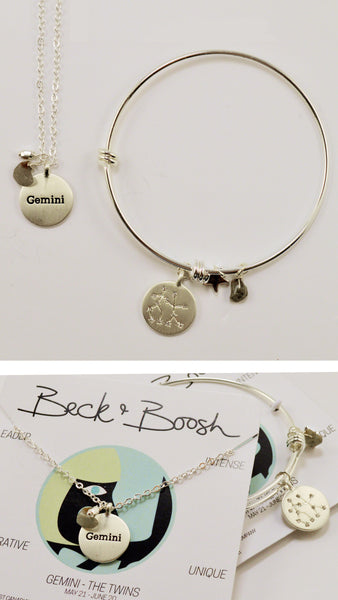 beck & boosh horoscope collection fashion jewelry gemini bracelet gemini necklace zodiac jewelry with charms and raw gems