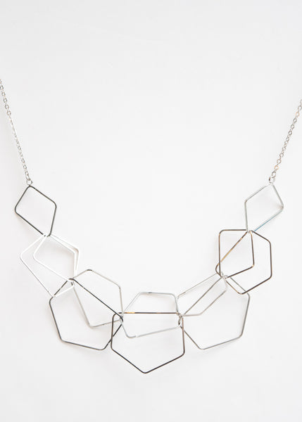 Beck & Boosh Geo Scribbles Necklace Linked Geometric Shapes Silver Plated