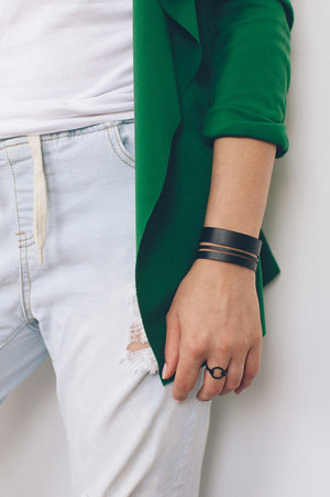 beck & boosh beck and boosh black gia ring minimal geometric inspired affordable fashion jewelry