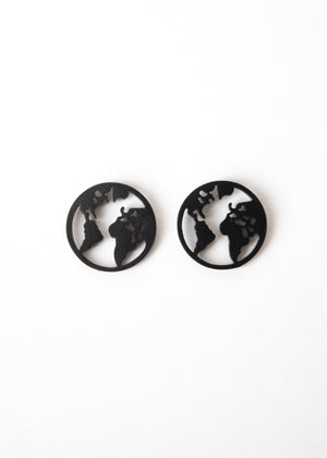 Beck & Boosh Globe Studs Small Circle Studs with Outline of World Map Inside Circle Plated in Black Rhodium