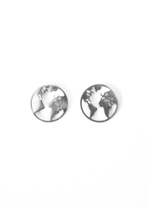 Beck & Boosh Globe Studs Small Circle Studs with Outline of World Map Inside Circle Plated in Silver