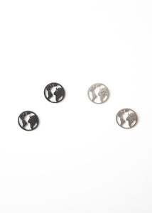 Beck & Boosh Globe Studs Small Circle Studs with Outline of World Map Inside Circle Plated in Silver and Black Rhodium