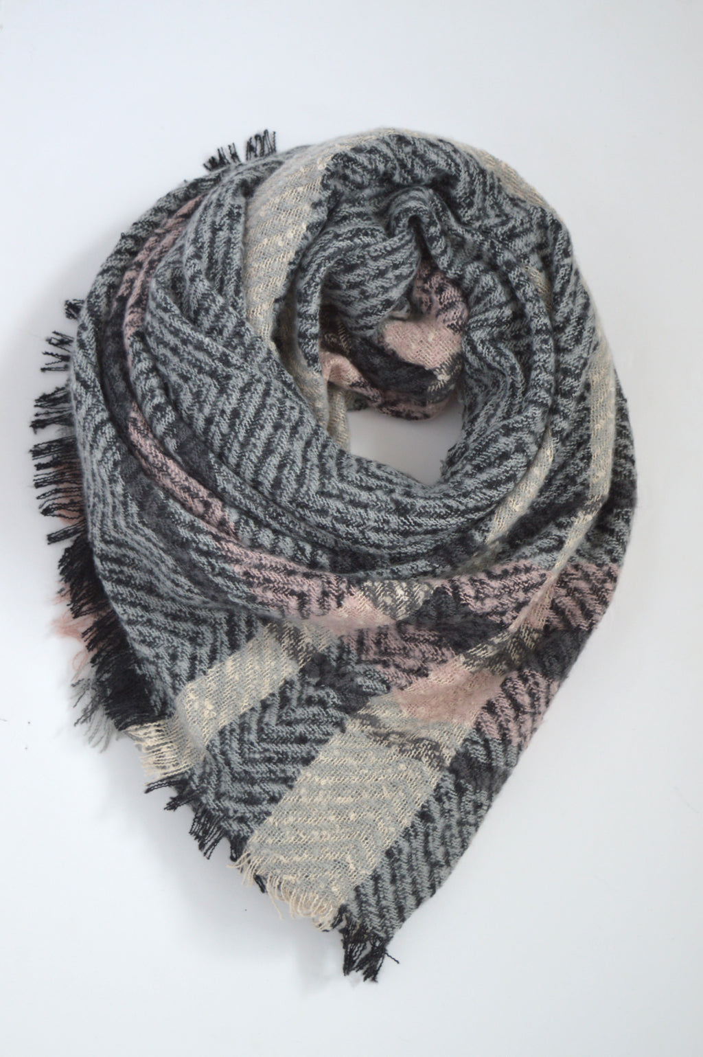 beck & boosh accessoies full pink and grey blanket scarf with light pink and grey plaid