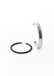 Beck & Boosh Hair Tie Cuff Bracelet Simple Plated Silver Stainless Steel Bracelet with Channel Around Edge to Hold Hair Tie