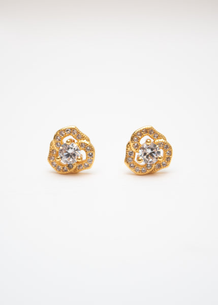 Beck & Boosh Harmony Studs Delicate Rhinestone Wreath With Rhinestone Center Plated in Gold