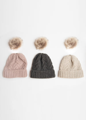 SOFT CABLE KNIT TOQUE WITH REMOVABLE POM POM