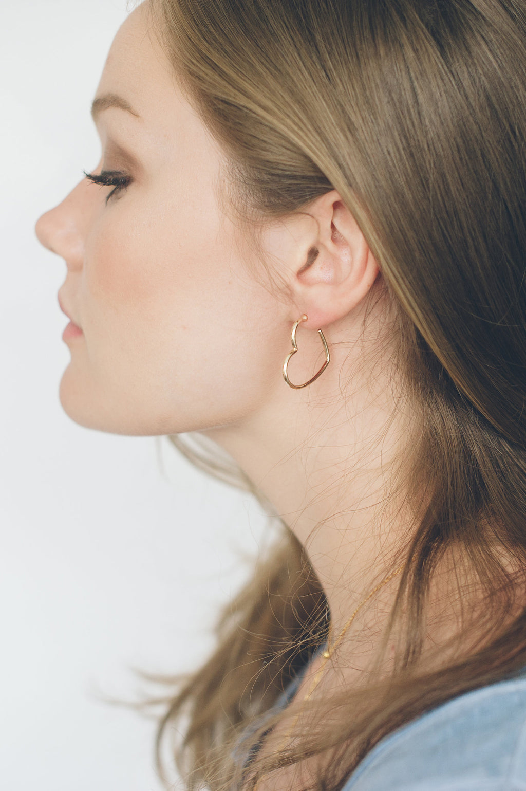 Beck & Boosh heart shaped hoops in gold and silver simple and clean design fashion jewerly