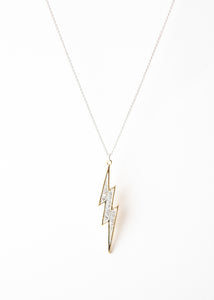 Beck & Boosh High Voltage Necklace Gold Trimmed Lightning Bolt with Rhinestone Crusted Center Pendant on Long Plated Silver Chain