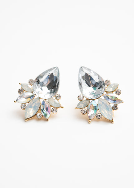 Beck & Boosh Modern Vintage Jewelette Studs Teardrop Rhinestone Center Flanked with Smaller Oval Stones In Opal