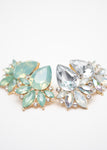 Beck & Boosh Modern Vintage Jewelette Studs Teardrop Rhinestone Center Flanked with Smaller Oval Stones In Opal or Seafoam