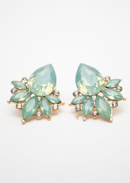 Beck & Boosh Modern Vintage Jewelette Studs Teardrop Rhinestone Center Flanked with Smaller Oval Stones In  Seafoam
