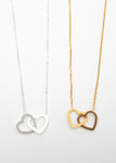 Beck & Boosh Joined Hearts Short Necklace Two Hearts Linked In Either Silver or Gold Stainless Steel