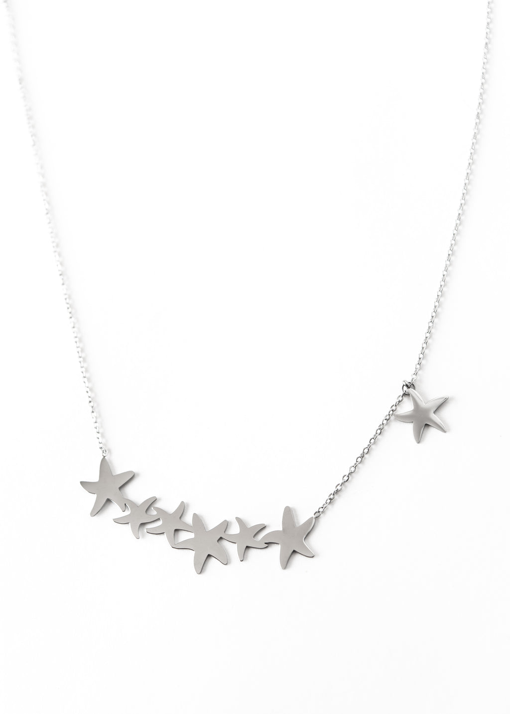 Beck & Boosh Joined Starfish Necklace Six Starfish Joined Together With One Hanging Two Inches Above Plated Silver Stainless Steel