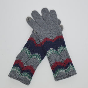 Beck & Boosh Accessories Knit Gloves with Long Cuff and Herring Bone Stripe Colored Pattern on Cuff Grey Knit.