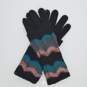 Beck & Boosh Accessories Knit Gloves with Long Cuff and Herring Bone Stripe Colored Pattern on Cuff Black Knit