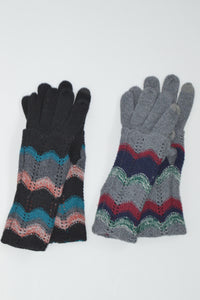 Beck & Boosh Accessories Knit Gloves with Long Cuff and Herring Bone Stripe Colored Pattern on Cuff. Black or Grey Knit.
