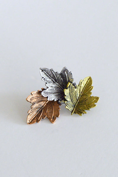 beck & boosh triple leaf brooch pin made of 3 different maple leaves in gold brass and silver