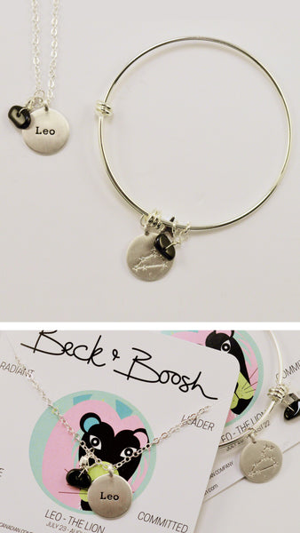 beck & boosh horoscope collection fashion jewelry leo bracelet leo necklace zodiac jewelry with charms and raw gems