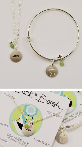 beck & boosh horoscope collection fashion jewelry libra bracelet libra necklace zodiac jewelry with charms and raw gems