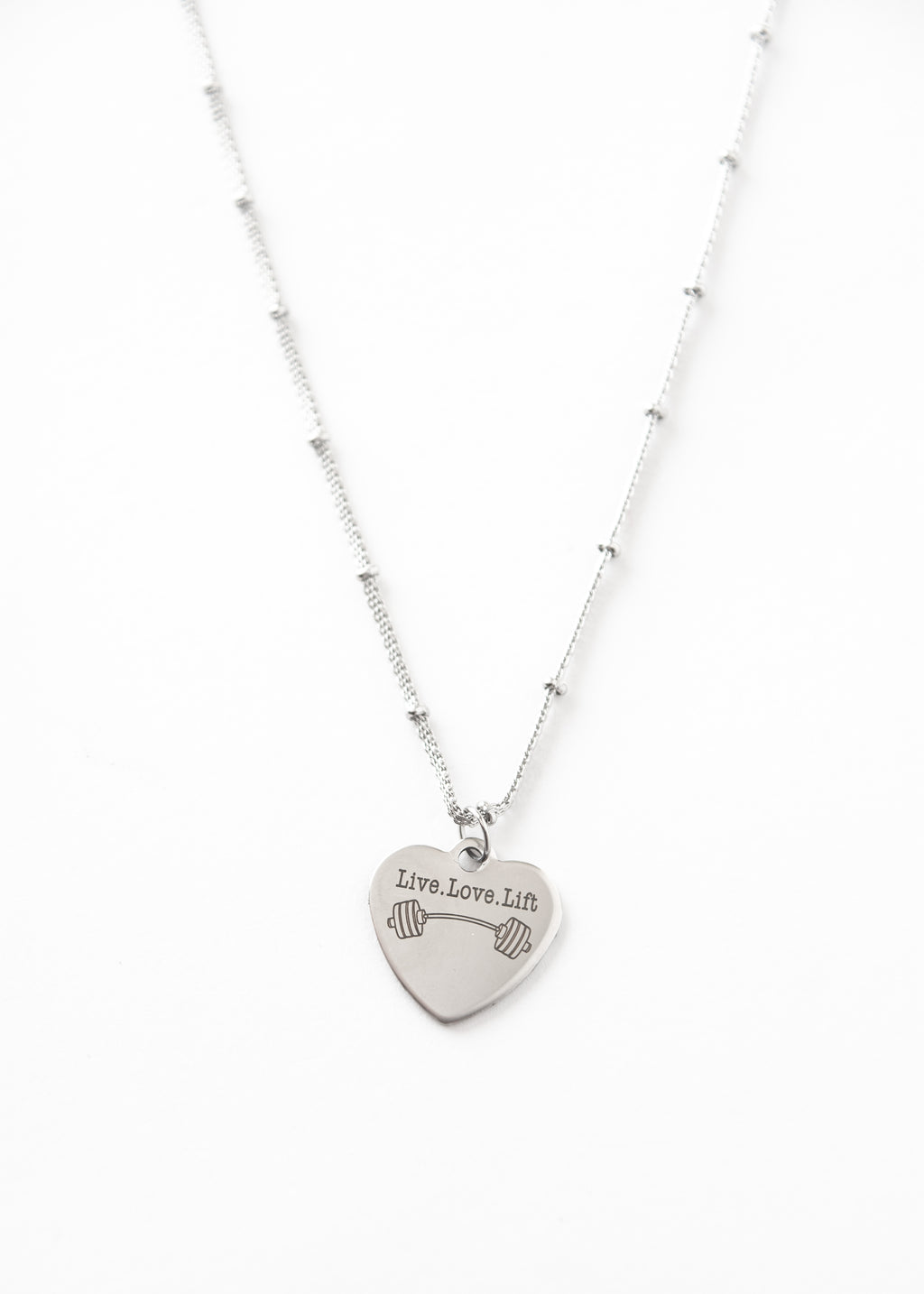 Beck and Boosh Live Love Lift Short Necklace  Heart Shaped Pendant with Live, Love, Lift written on it accompanied by a dumb bell Silver Plated Stainless Steel