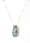 Beck & Boosh Long Walk Pendant Oblong Abalone Pendant with Small Rhinestones and Gold Outline on Long Necklace Plated Gold Chain