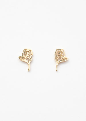 Beck & Boosh Long Stem Rose Studs Delicate Roses with Long Stem Gold Stainless Steel