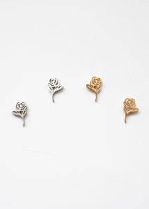 Beck & Boosh Long Stem Rose Studs Delicate Roses with Long Stem Silver and Gold Stainless Steel