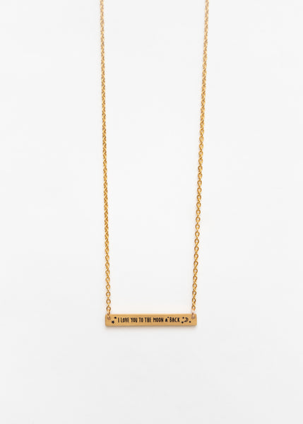 Beck & Boosh Love You To The Moon And Back Short Rectangle Pendant Necklace with Inscription  Gold Stainless Steel
